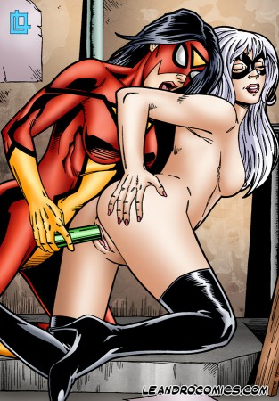 spiderwoman dildoing black cat